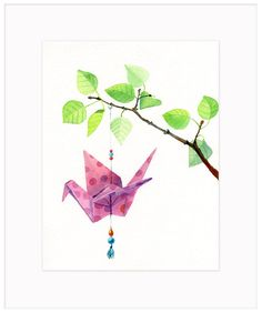Watercolor Prints and Original Art for Sale Watercolor Print, Watercolour Painting, Watercolours, Crane Tattoo, Arches Paper, Painting Inspiration, Tattoo Inspiration, Origami Flowers, Original Art For Sale