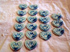 Raku Beads Paw Print Beads Destash Handmade by spinningstarstudio