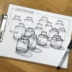 Quick study of hierarchy and composition. . . . #heirarchy #composition #lineweight #depth #sketch #sketchbook #sketchaday #ideation #industrialdesign #productdesign #practice #concept #sketching #thicktothin #sharpie #ink #pen #bottles #forms