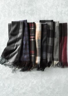 Plaid cashmere scarves for him.