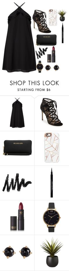 """""""Untitled #170"""" by janisan0310 ❤ liked on Polyvore featuring Miss Selfridge, Pour La Victoire, Michael Kors, Casetify, Givenchy, Lipstick Queen, Olivia Burton, Irene Neuwirth and CB2"""