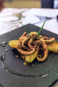 Octopus and potatoes at Pescador Restaurante & Bar  in Jericoacoara, Brazil…
