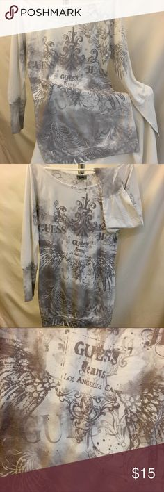 Guess Long Sleeve Top Soft and comfy, fantastic condition. Length 31 in. from shoulder to bottom hem, sleeves 24 in. Tops