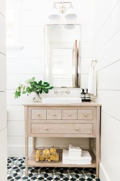 vanity not against the side wall. Wide+shiplap+planks,+bleached+oak+vanity+and+cement+tile+floors+--+Studio+McGee. Bathroom Vanity Designs, Small Bathroom Vanities, Bathroom Renos, Bathroom Interior Design, Bathroom Renovations, Modern Bathroom, Bathroom Ideas, Master Bathroom, Remodel Bathroom