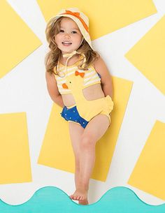 How cute at the pool! Le Top Yellow Navy DUCK Connector Swimsuit (sz 12m-4T) ~Color Me Happy Boutique