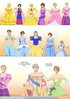 Hetalia characters dressed in the dresses their princesses wore.