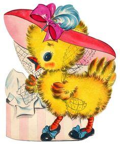 Retro Easter Cards | vintage easter card - fancy dressed chick | Easter