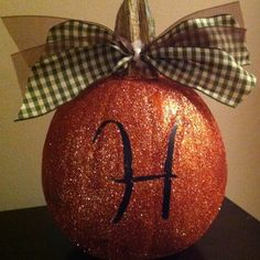 Glitter Pumpkin with Initial