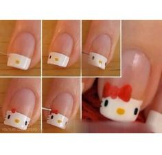 ❀ Ongles hello kitty ❀ Plus Nails For Kids, Girls Nails, Nail Art Diy, Cool Nail Art, Easy Nail Art, Ongles Hello Kitty, Love Nails, Pretty Nails, Nail Diamond