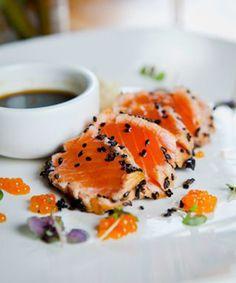 Tataki of Salmon with Roe, Yuzu Dressing
