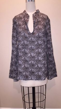TORY BURCH Cotton Sequin Elephant Print Stephanie Tunic Sz L 10 #ToryBurch #Tunic