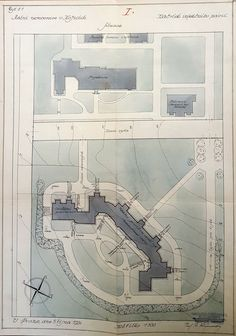 Kosice State Hospital plan of a proposed isolation pavilion by Rudolf Krizenecky. Source: Czech National Archives, Ministry of Healthcare, ka 628 Hospital Plans, National Archives, Hospitals, Pavilion, Ministry, Health Care, How To Plan, Sheds, Cabana