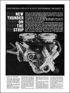 """1962 Dodge Ram-Charger 413 Ad: """"New Thunder on the Strip!"""" - http://wildaboutcarsonline.com/"""