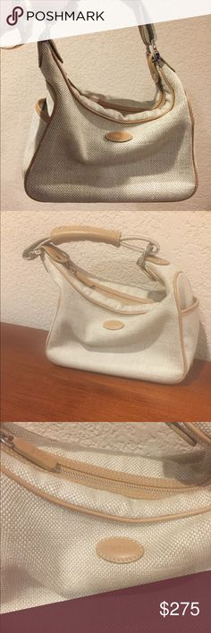 Tods canvas linen leather small Hobo bag Tods canvas linen leather small Hobo bag excellent condition Tod's Bags