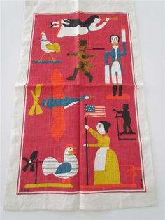 Vintage 60s Linen Tea Towel Americana Kay Dee The Dowry Collection by Pat Meyers