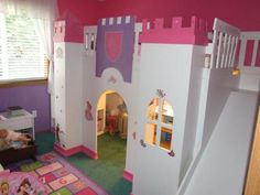 Download complete instructions on how to build a Castle loft bed for your little girl with sturdy stairs on one side, a slide on the other side, and a playroom underneath the bed.  This looks like a fun bed to have for my daughter, but I don't want to be the one to change the bedsheets and dust the castle every week.