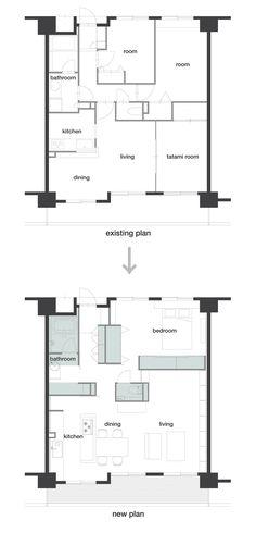 all photos(C)gottingham 大野友資 / DOMINO ARCHITECTSが設計を手掛けた、神奈川県川崎市のマンションの一室の改装「J House」です。 東京近郊、古くからのローカルな街並みと再開発が進むエリアとの境界線に位置するマンションの一室の改装。部屋は最上階にあり、南に向いたベランダからはヒッチコックの「裏窓」を少し上から俯瞰するような風景が広がる。 この家は若い夫婦と2歳になる子供が暮らす家として計画された。子供の成長に伴うライフスタイルの変化を考えると決して広い面積ではないため、角や回りこみ、ニッチなどを意図的に配置することで多様な居場所を作り、空間をより豊かに感じられるよう心がけた。 平面的には壁を一切たてず、収納やトイレが入った木の箱のようなボリュームを配置して空間を仕切ることで、すべての部屋がゆるく繋がる回遊的な空間を計画した。ボリュームの間には引き戸が設けられ、開閉することでフレキシブルに空間の流動性をコントロールできる。 ※以下の写真はクリックで拡大します…
