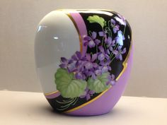 Irene Graham Porcelain Artist Original Design by Irene Graham Violets with Black and Heliotrope Background Roman Gold Accents