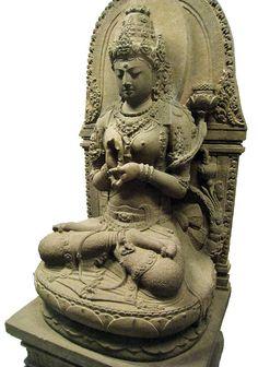 Bodhisattvadevi (Female Bodhisattva) Prajnaparamita; the buddhist goddess of transcendental wisdom, personified in a statue from 13th century Singhasari East Javanese art. The statue was discovered in Cungkup Putri ruins near Singhasari temple, Singhasari, East Java, Indonesia