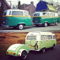 Woke up in a very green mood... gotta love a great vintage VW Camper! If you love RVing, you'll love these!