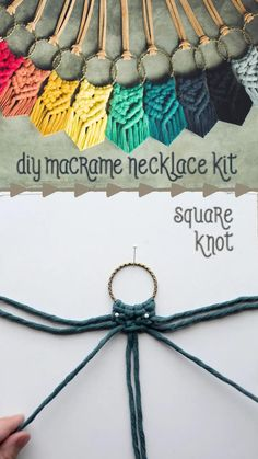 create your own macrame necklace // supplies and instructions # cute diy gifts diy macrame necklace Macrame Wall Hanging Diy, Macrame Art, Macrame Projects, Macrame Knots, Wood Projects, Diy Necklace Kit, Diy Macrame Necklace Tutorial, Diy Necklace Patterns, Diy Macrame Earrings