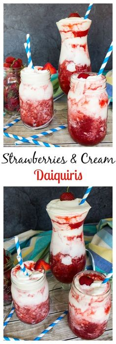 Strawberries and Cream Daiquiris–so easy! (Pour Drink) Strawberries and Cream Daiquiris–so easy! Refreshing Drinks, Yummy Drinks, Yummy Food, Alcohol Drink Recipes, Strawberry Alcohol Drinks, Strawberry Daiquiri Recipe, Slushy Alcohol Drinks, Strawberry Drink Recipes, Strawberry Shortcake
