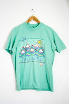 Vintage Telluride T-Shirt Ski Tee Vintage Active Wear Tee Shirt Teal 1990's Vintage 90's Tee Ski Town Mountains T-Shirt Size L Made in USA by GarageEccentrica on Etsy
