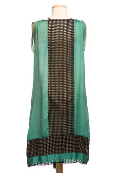 Nile green silk shift, 1920s, with peekaboo ribbon lattice panel in the back. Charleston Museum