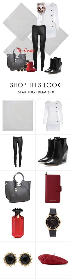 """""""Black & White for casual day"""" by tais-escobar ❤ liked on Polyvore featuring Merola, Rick Owens, Rupert Sanderson, MICHAEL Michael Kors, Victoria's Secret, Nixon, Gucci and Valentino"""
