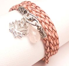 Pink Braided Leather Wrap Bracelet with Lotus Charm and Rose Quartz Briolette $36.00 #jewelry #gift #brigteam