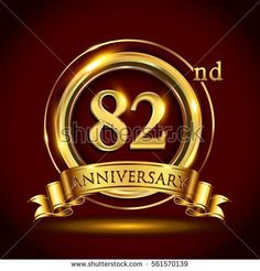 82nd golden anniversary logo, eighty two years birthday celebration with gold ring and golden ribbon.