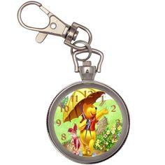 Winnie The Pooh Key Ring Chain Pocket Watch