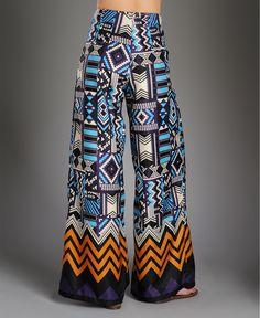 Gracia Tribal Print Wide Pant