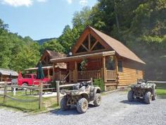 location.2014.hatfield-mccoy.atvs.parked.by-cabin.