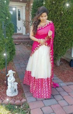 55 Bridal Lehenga designs that will inspire you - Wedandbeyond Half Saree Lehenga, Lehnga Dress, Sari, Bridal Lehenga, Kids Lehenga, Lehenga Blouse, Wedding Sarees, Gown Dress, Half Saree Designs