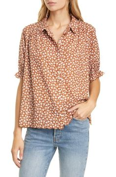 The Great The Kerchief Floral Print Cotton Top In Sweet Tee Floral The Great Clothing, Emily And Meritt, Kerchief, Scalloped Hem, World Of Fashion, Printed Cotton, Floral Prints, Nordstrom, Tees