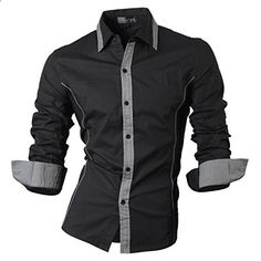 Jeansian Men's Slim Fit Long Sleeves Casual Shirts 8015 Black L  Go to the website to read more description.