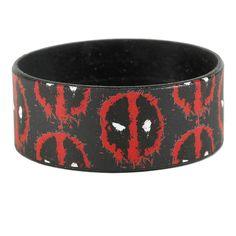 Marvel Deadpool Splatter Logo Print Rubber Bracelet ($5.60) ❤ liked on Polyvore featuring jewelry, bracelets, multi, marvel jewelry, rubber jewelry and rubber bangles