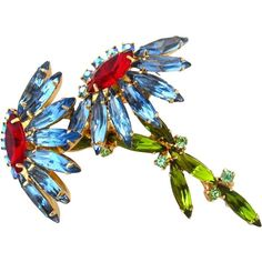 JULIANA Blooming Double Flower Rhinestone Brooch | Vintage D&E Blue Floral Figural Pin