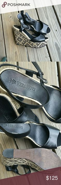 "Vera Wang platform sandals size 9.5M, Eur 41 Excellent condition, barely worn, black leather, woven straw grass look of black and light tan, hemp braid around edge. Platform height 5"" heel and 1.75"" toe. Vera Wang Shoes Platforms"