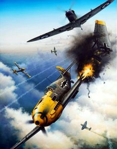 Las Cosicas del Panzer — Spitfire derriba un Ww2 Aircraft, Fighter Aircraft, Military Aircraft, Fighter Jets, Luftwaffe, Airplane Fighter, Airplane Art, Focke Wulf, Aircraft Painting