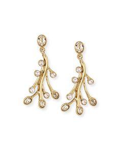 Crystal Seaweed Drop Earrings by Oscar de la Renta at Neiman Marcus.