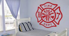 A cool wall decal for your kid's room Everyone dreams of being a fireman as a child.  Visit this link for more designs: https://limelight-vinyl.myshopify.com/