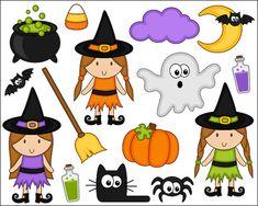 Cute Halloween Clipart Cute Witch Digital Clip Art by YarkoDesign