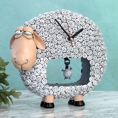 Sheep Clock with yarn ball pendulum
