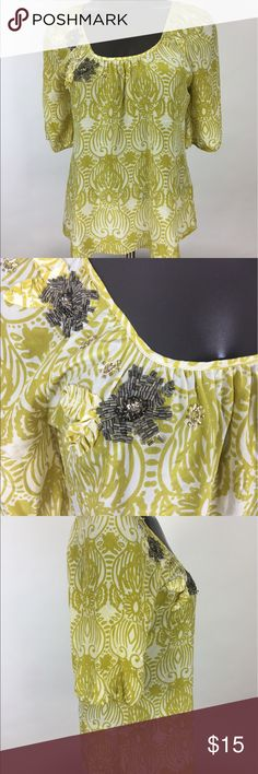 Edme & Esyllte Silk green Blouse Has a few stains and small rip. Priced to sell. No trades Anthropologie Tops Blouses