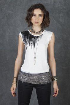 Cecilia de Bucourt Grey Tie Dye with Silver Painted Shoulder T-Shirt