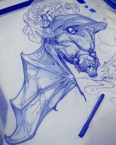 Tattoo Design Drawings, Tattoo Sketches, Art Sketches, Art Drawings, Tatoo Art, Body Art Tattoos, Bat Tattoos, Animal Sketches, Animal Drawings