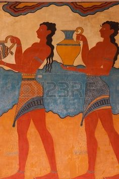 Replikat des Fresco am Knossos arch ologische Site in Kreta Griechenland Stockfoto