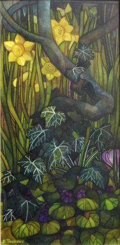 all'ombra con le violette  cm 30 x60   tempera